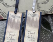 Wedding Favor Bookmarks  Rustic Winter Woodland Pine Trees in Snow