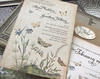 Botanical Wedding Invitation- butterflies- garden wedding - wildflower wedding invitation -woodland wedding - botanical wedding - butterfly