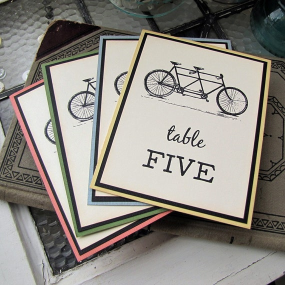 Tandem Bicycle Wedding Reception Table Numbers