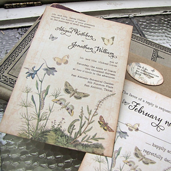Vintage Wedding Invite: Botanical Wedding Invitation Butterflies Garden Wedding