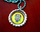Blue and Green Sugar Skull Bottlecap Necklace
