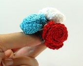 Crocheted Rose Ring Flower Cotton Turquoise Blue Adjustable Handmade
