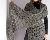 SUPER LONG - Luxurious Hand Knitted Wrap Shawl Stole - Italian Kid mohair