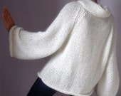 Knitted Sweater with long Sleeves Turtleneck Pure white - Handmade - Super soft Italian Kid Mohair (luxury)