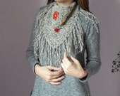 Knitted Fringe Cowl/Scarflette Light brown and Black with crochet appliques - Handmade