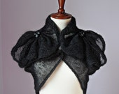 Knitted Shrug Black and Silver - High Fashion Retro Style Handmade - Medium Size - Elegant Special evening