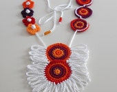 Crocheted Necklace Orange Red White Purple - Fiber Art Textile Necklace - Handmade - ETHNIC (05)