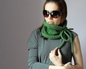 Knitted Cowl Green with bowtie Handmade - One size