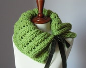 Knitted Cowl Apple Green Lime Pistachio - Handmade - Big One Size - Wool and Alpaca