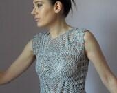 Crocheted tank top - pineapples pattern - Linen super soft - elegant and romantic - Grey Princess
