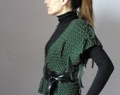 Knitted Kimono Vest Cardigan Sweater Green - 100x100 Merino wool - Knitwear Italian fashion Jacket -Fringes