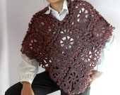 Crocheted Poncho Pink Handmade - Lace Pattern - Dressy Luxury - Italian Kid Mohair - Very Soft