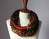 Infinity Scarf Brown Earth Shades Rusty Red - Chunky - Accessories - Long - MINI LOOP SCARF