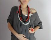 Fiber Art Crochet Textile Necklace Grey Gray Black Red Beaded - Handmade - Italian Mood (02)