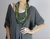 Fiber Art Crochet Textile Necklace Green Shades and Brown Beaded - Handmade - Italian Mood (01)