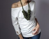 Giant Crochet Balls Necklace - Green Forest - Handmade - 100x100 Merino Wool
