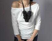 Giant Crochet Balls Necklace - Blue Aviator - Handmade - 100x100 Merino Wool