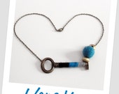 Reserved for Chiara M. - Skeleton Key Fiber Necklace Turquoise black and Grey