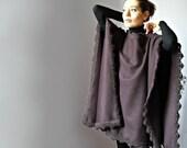 Crochetted Poncho, Coat - Burgundy, Red Wine - Fashion Design - Women - Cape, Jacket - Handmade Italian Mohair