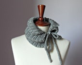 Knitting Cowl Neckwarmer with Ribbons SILVER Grey Gray - Handmade - Baby or Teen Girls Fashion