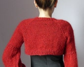 Knitted shrug sweater cardigan Ruby Red - Long Sleeves- Handmade - Italian   Kid Mohair (Lux Version)