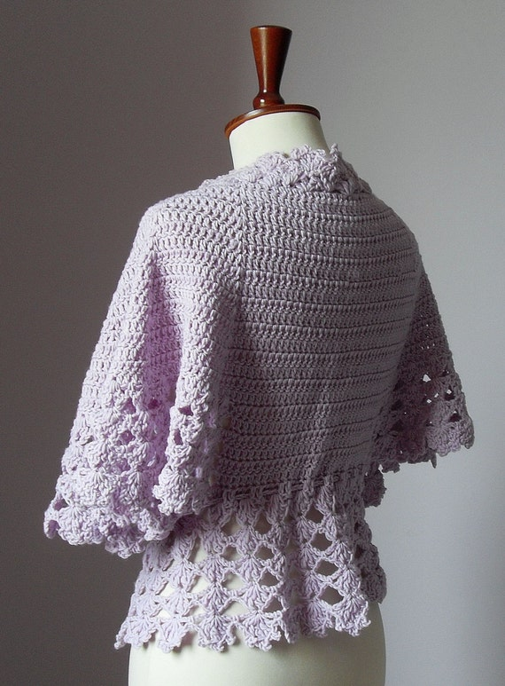 Crocheted bed jacket or light cardigan