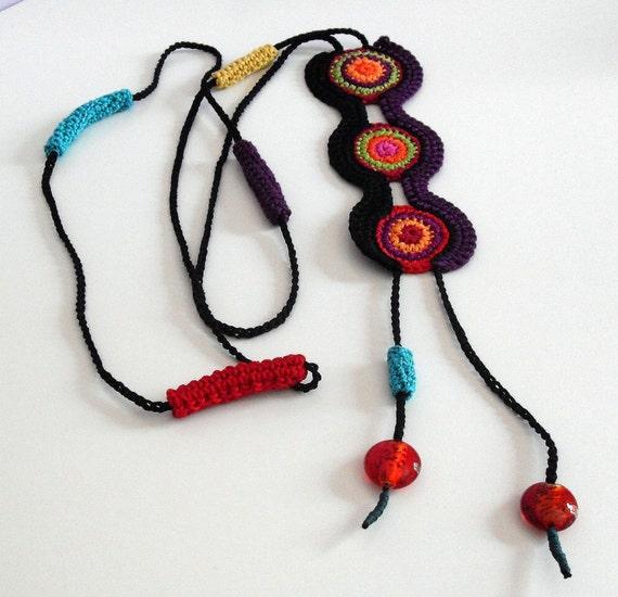 ETHNIC (02) - Handknit Crochet Necklace RESERVERD