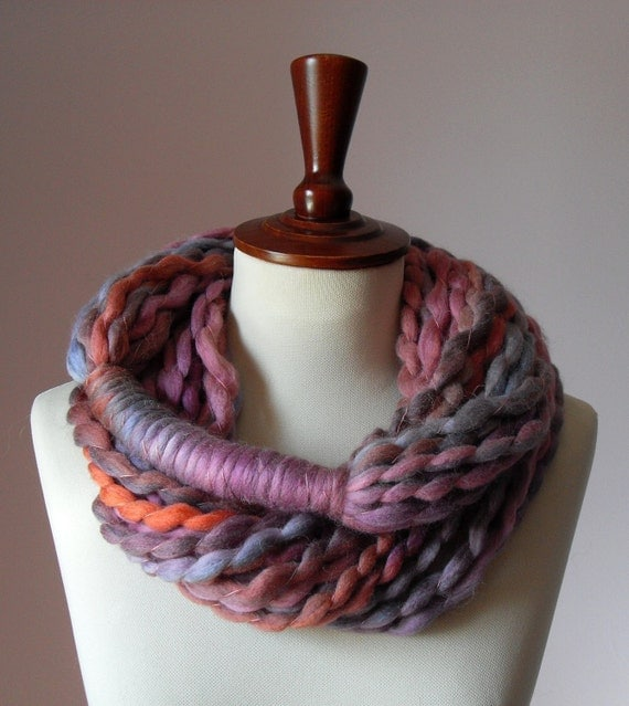 Infinity Scarf Pink Shades Purple Lilac - Chunky - Accessories - Long - MINI LOOP SCARF