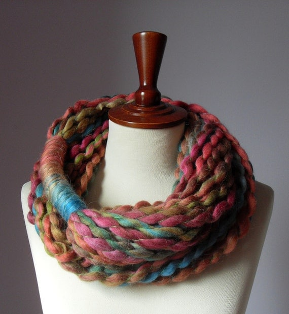 Infinity Scarf Fall Colors Brown Pink Orange Blue - Chunky - Accessories - Long - MINI LOOP SCARF