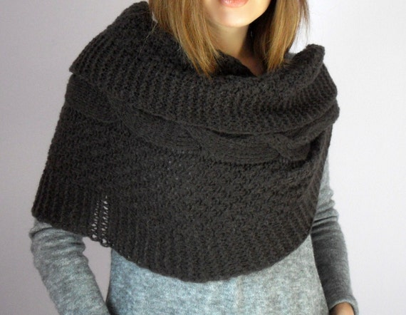 knitting Cable Wrap Ties Shawl Capelet - Brown