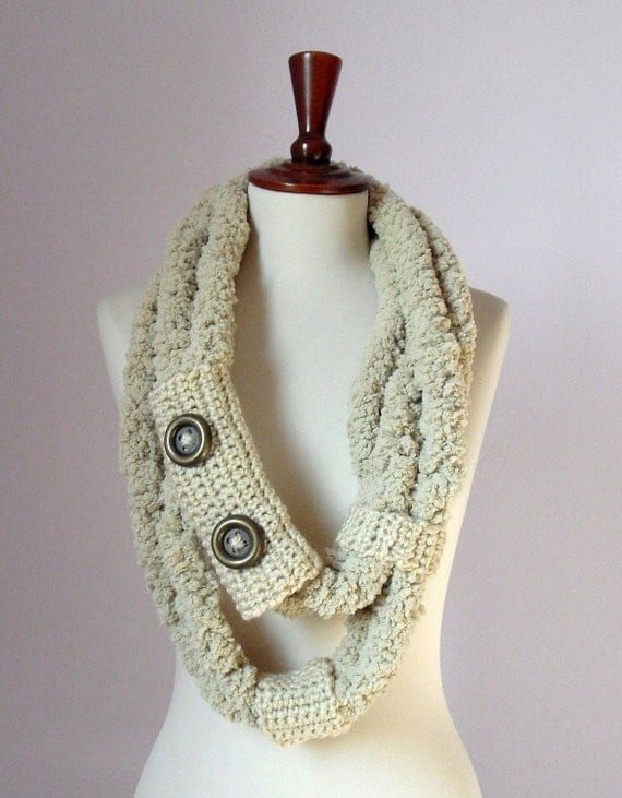 Crochet Scarf Cream Light Brown RINGS and LOOPS Scarf - Necklace