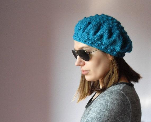 Hand Crochet Beret - Bubbles -Blue, turquoise  - Women