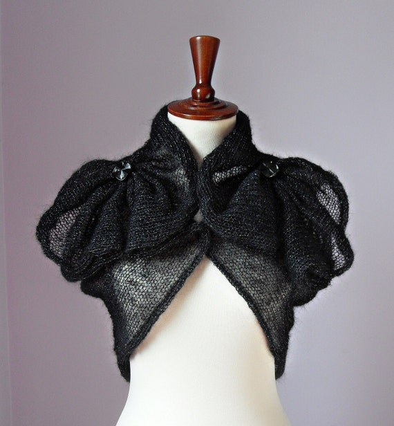 Knitted Shrug Black and Silver - High Fashion Retro Style Handmade - Medium Size - Elegant Special evening