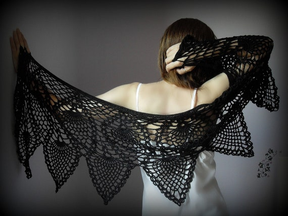 Hand Crochet Wrap Shawl - BLACK PINEAPPLES- Cotton