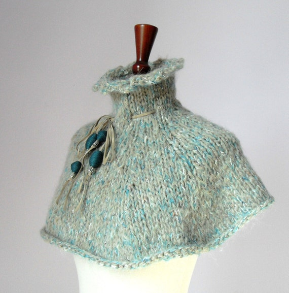 HandKnitted Capelet, Cowl, poncho Kid Mohair - Teal green, cream, blue - CAMELOT