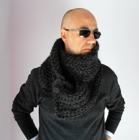 Knitted Made to Order Scarf Cowl for Men Unisex Brown and Black Chunky and Warm - Italian Kid Mohair