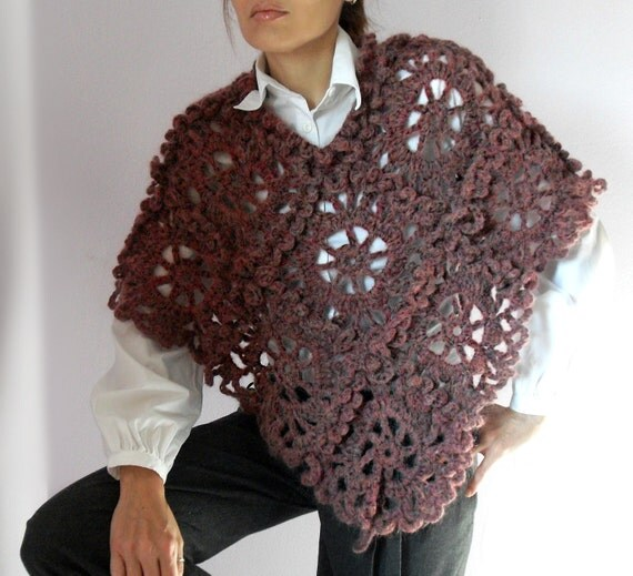 Crocheted Poncho Pink Handmade - Lace Pattern - Dressy Luxury - Italian Kid Mohair - Very Soft