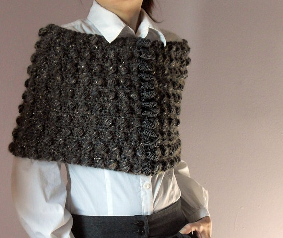 Reserved for MonicaI - Hand Crochet Capelet  Bubbles - Handmade - Warm Shoulders - Brown, Grey, gold - Size M