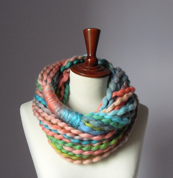 Reserved for Amanda Hightower - Infinity Scarf Green Pink Salmon Blue Turquoise Candy - Chunky - Accessories - Long - MINI LOOP SCARF