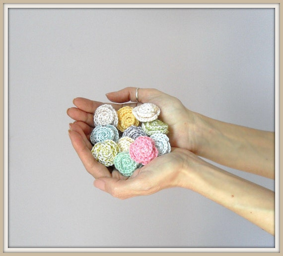Crocheted Rose Ring Flower Cotton Bubble Gum Pink Handmade Bridesmaid gift - New Pastel Color Colection Spring