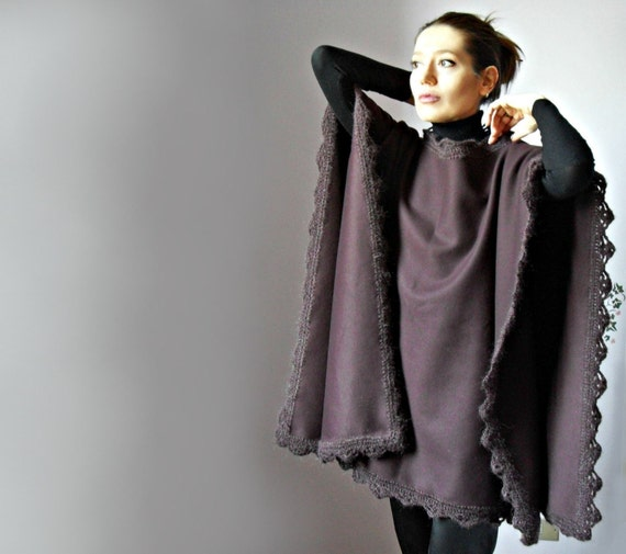 Crochetted Poncho, Coat - Burgundy, Red Wine - Fashion Design - Women - Cape, Jacket - Handmade Italian Mohair