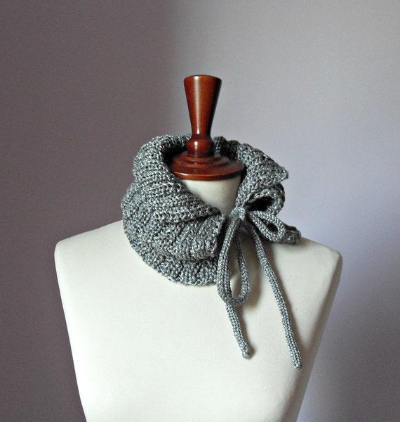 Knitting Cowl Neckwarmer with Ribbons SILVER Grey Gray - Handmade - Baby or Teen Girls Fashion