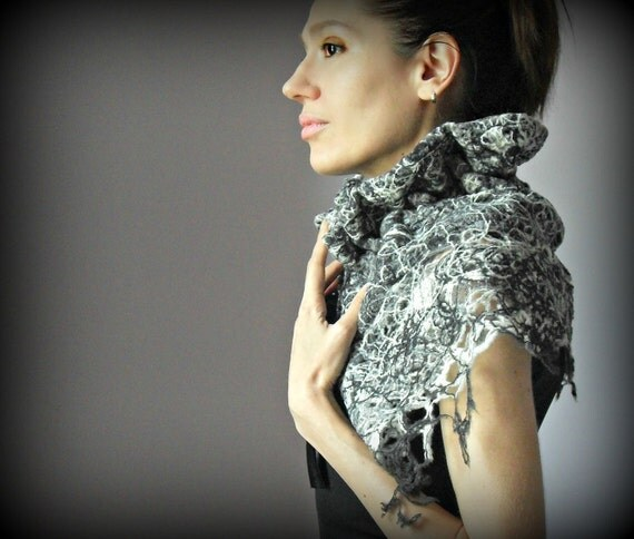 RESERVED Cowl Shoulderwarmer Black White Grey Gray - Elegant and Sophisticated - Handmade- 100% Wool FabricVelvet Ribbons - Sabrina Capelet