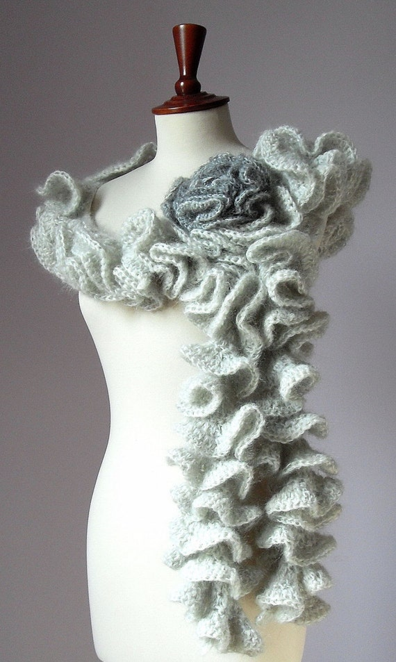 Knitting Pattern For A Ruffle Scarf : JOSEPHINE Ruffled Scarf Knitting Mohair