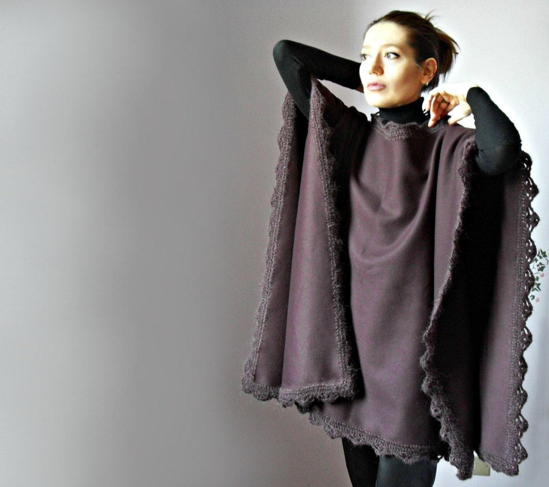 Crochetted Poncho Coat Burgundy Red Wine Fashion Design