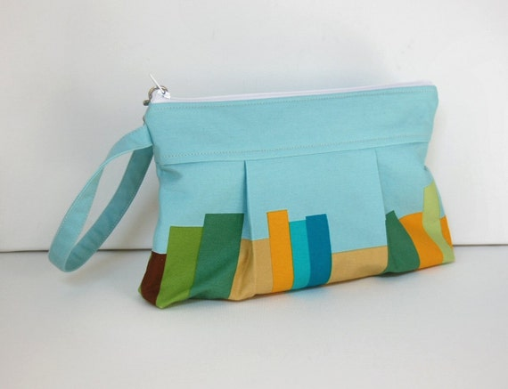 Wristlet Zipper Pouch Volumes in Blue Anna Maria Horner Drawing Room