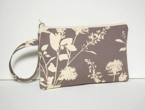 Wristlet Zipper Pouch with Swivel Clip Stone Wildflowers Joel Dewberry Ginseng