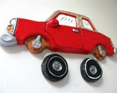 Red Car with Removable Wheels Magnet Set