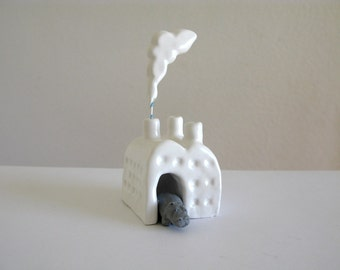 Hippo Factory - Miniature Ceramic Sculpture - hippopotamus - small ceramic factory