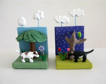 Dog Sculpture Duo - miniature ceramic art
